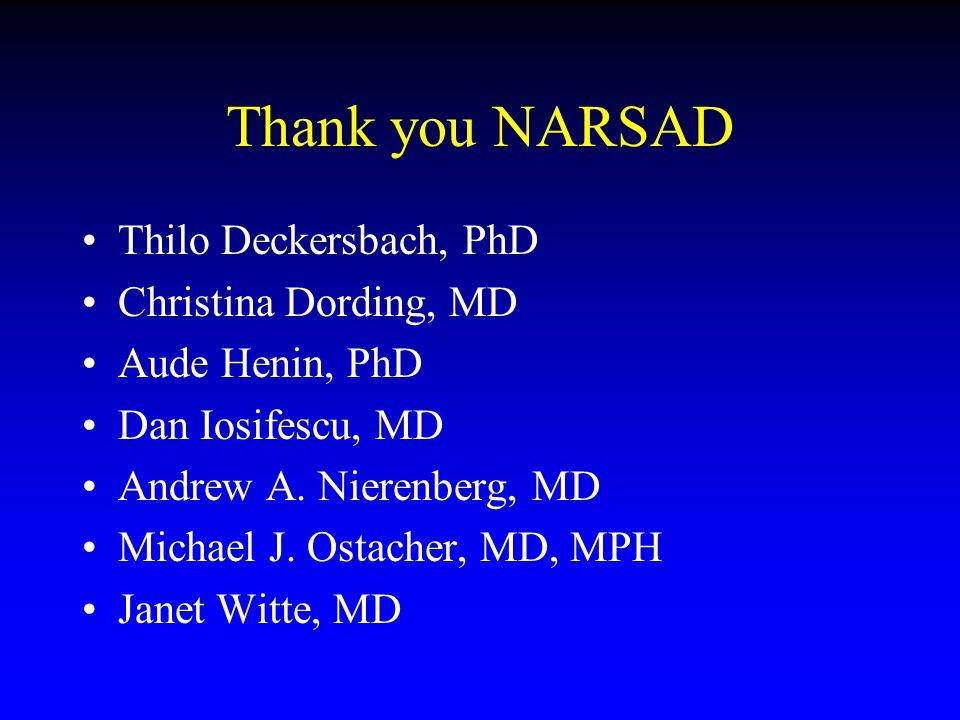 Thank you NARSAD Thilo Deckersbach, PhD Christina Dording, MD Aude Henin, PhD Dan Iosifescu, MD Andrew A. Nierenberg, MD Michael J. Ostacher, MD, MPH