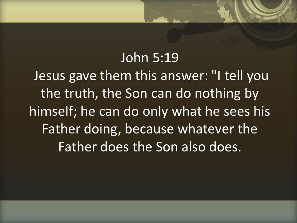John 5:19 Jesus gave them this answer: