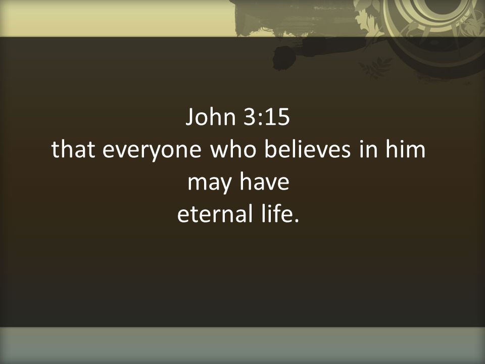 John 3:15 that everyone who believes in him may have eternal life.