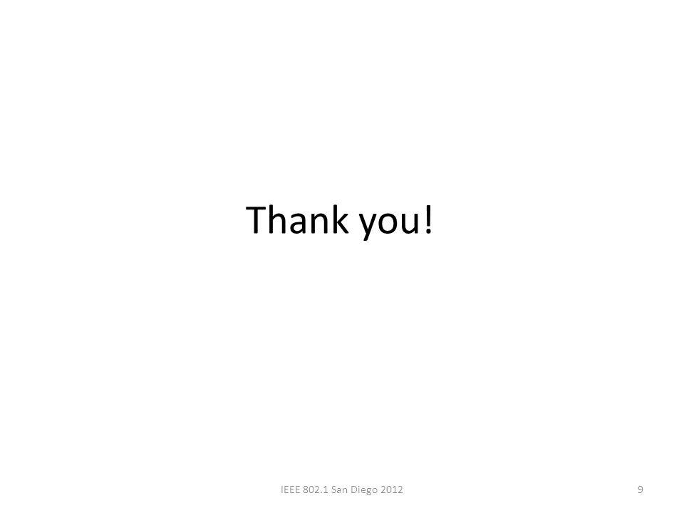 Thank you! 9IEEE 802.1 San Diego 2012