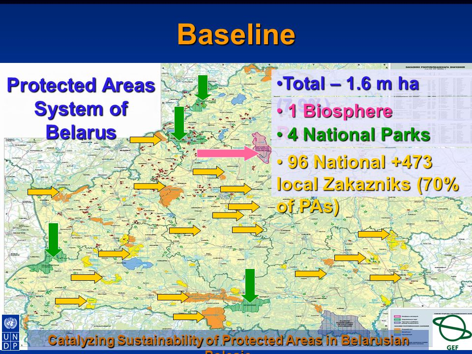 Protected Areas System of Belarus Total – 1.6 m ha (7.9%)Total – 1.6 m ha (7.9%) 1 Biosphere Reserve 1 Biosphere Reserve 4 National Parks 4 National Parks 96 National +473 local Zakazniks (70% of PAs) 96 National +473 local Zakazniks (70% of PAs) Catalyzing Sustainability of Protected Areas in Belarusian Polesie Baseline