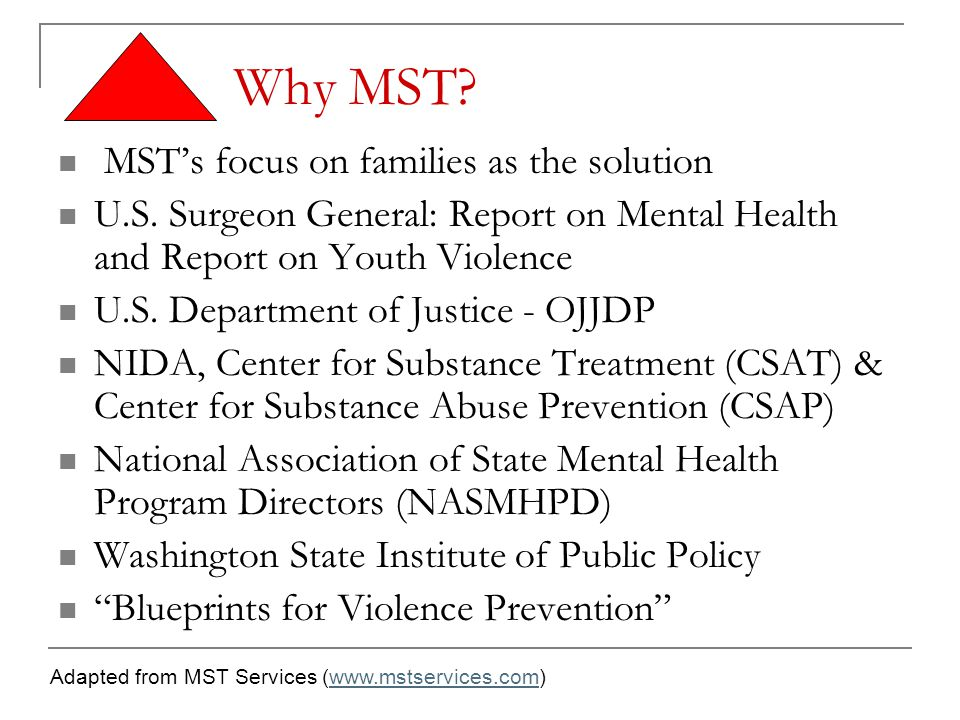 Why MST? MST's focus on families as the solution U.S. Surgeon General: Report on Mental Health and Report on Youth Violence U.S. Department of Justice