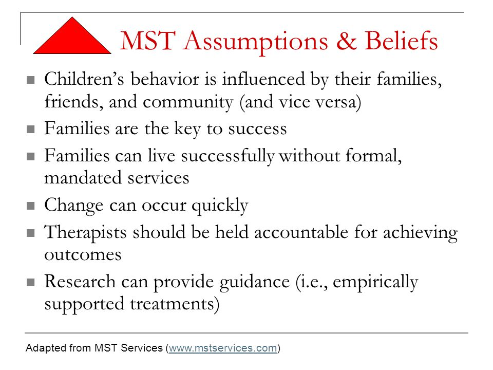 MST Assumptions & Beliefs Children's behavior is influenced by their families, friends, and community (and vice versa) Families are the key to success