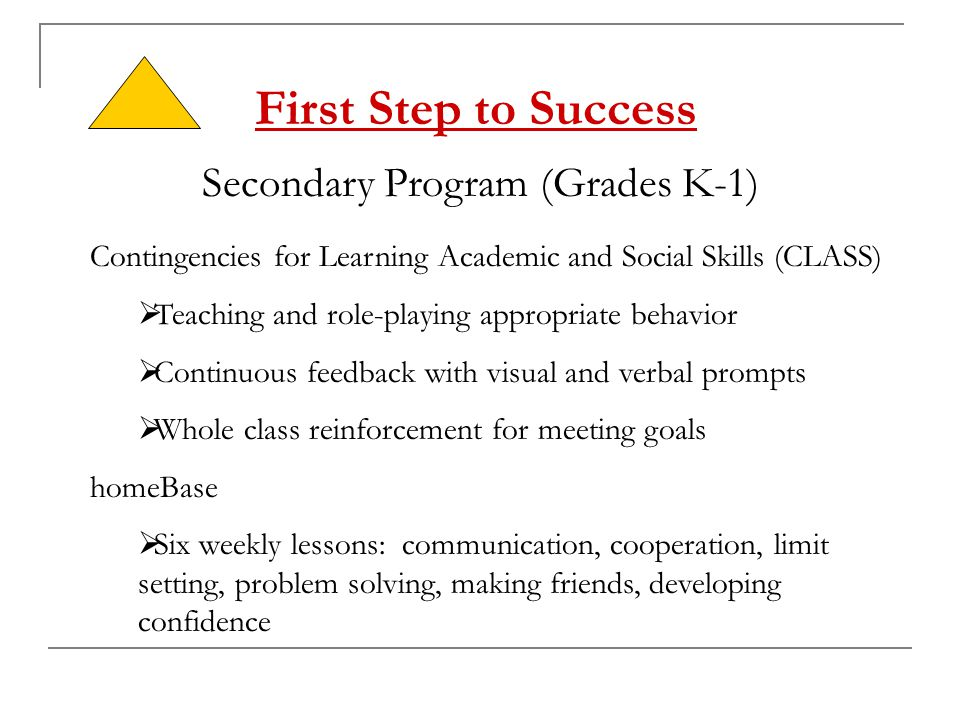 First Step to Success Secondary Program (Grades K-1) Contingencies for Learning Academic and Social Skills (CLASS)  Teaching and role-playing appropr