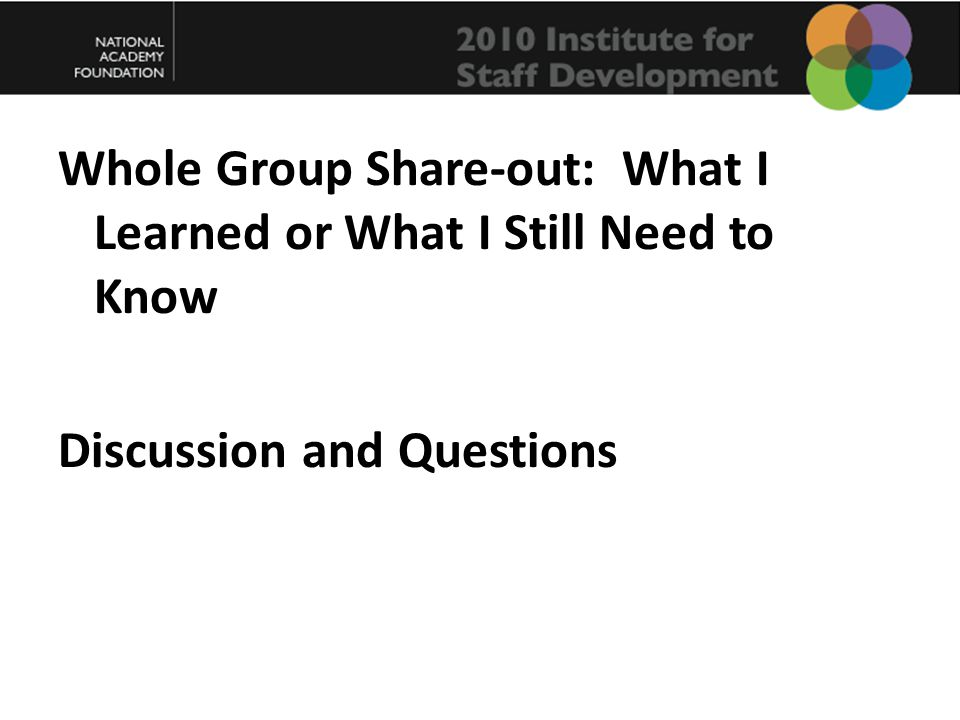 Whole Group Share-out: What I Learned or What I Still Need to Know Discussion and Questions
