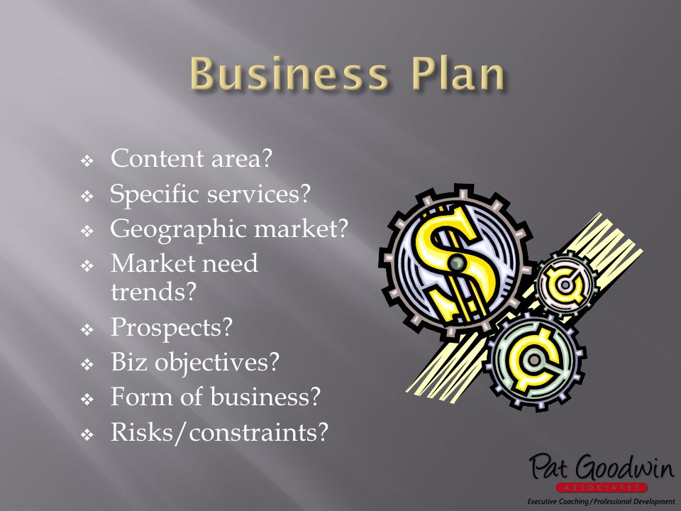  Content area. Specific services.  Geographic market.