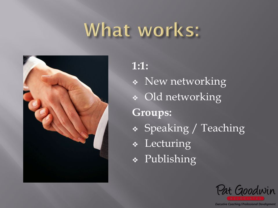 1:1:  New networking  Old networking Groups:  Speaking / Teaching  Lecturing  Publishing