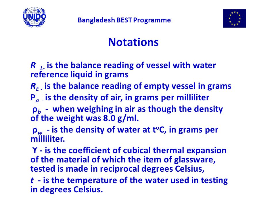 Notations R L- is the balance reading of vessel with water reference liquid in grams R E - is the balance reading of empty vessel in grams Ρ a - is the density of air, in grams per milliliter ρ b - when weighing in air as though the density of the weight was 8.0 g/ml.