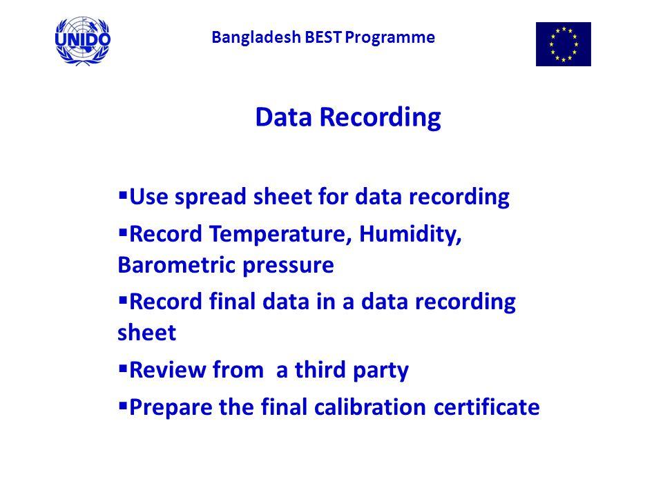 Data Recording  Use spread sheet for data recording  Record Temperature, Humidity, Barometric pressure  Record final data in a data recording sheet