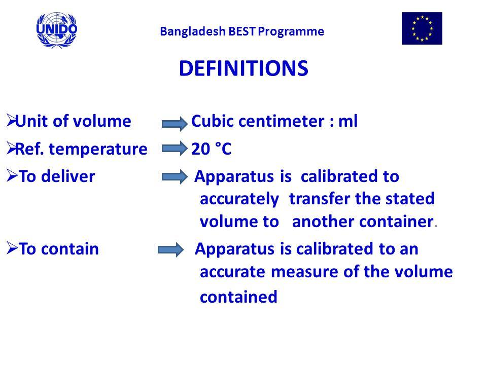 DEFINITIONS  Unit of volume Cubic centimeter : ml  Ref.