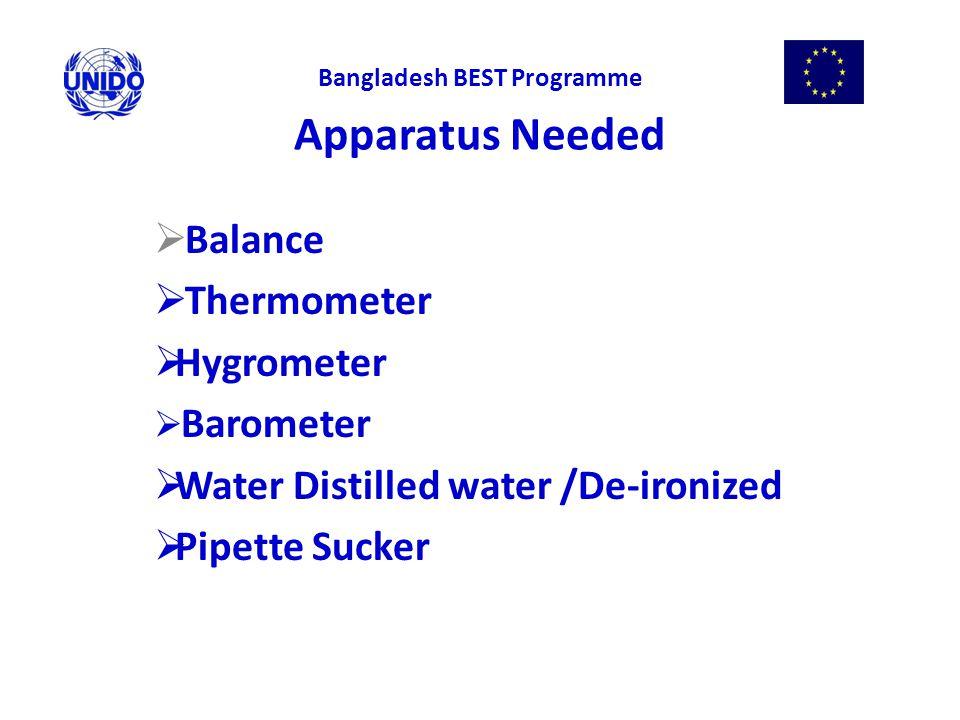 Apparatus Needed  Balance  Thermometer  Hygrometer  Barometer  Water Distilled water /De-ironized  Pipette Sucker Bangladesh BEST Programme