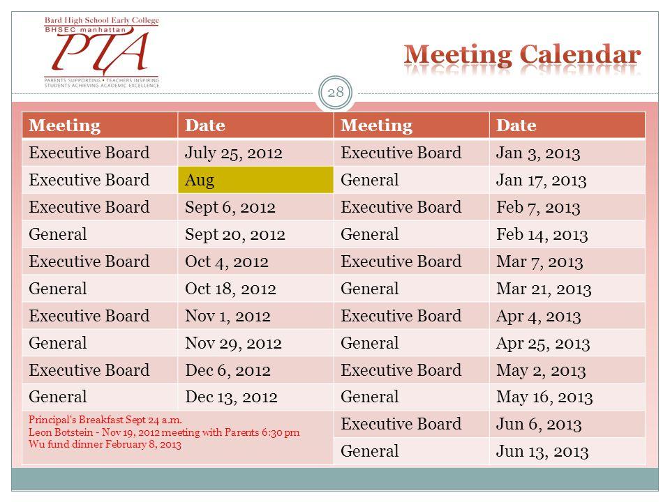 28 MeetingDateMeetingDate Executive BoardJuly 25, 2012Executive BoardJan 3, 2013 Executive BoardAugGeneralJan 17, 2013 Executive BoardSept 6, 2012Executive BoardFeb 7, 2013 GeneralSept 20, 2012GeneralFeb 14, 2013 Executive BoardOct 4, 2012Executive BoardMar 7, 2013 GeneralOct 18, 2012GeneralMar 21, 2013 Executive BoardNov 1, 2012Executive BoardApr 4, 2013 GeneralNov 29, 2012GeneralApr 25, 2013 Executive BoardDec 6, 2012Executive BoardMay 2, 2013 GeneralDec 13, 2012GeneralMay 16, 2013 Principal s Breakfast Sept 24 a.m.