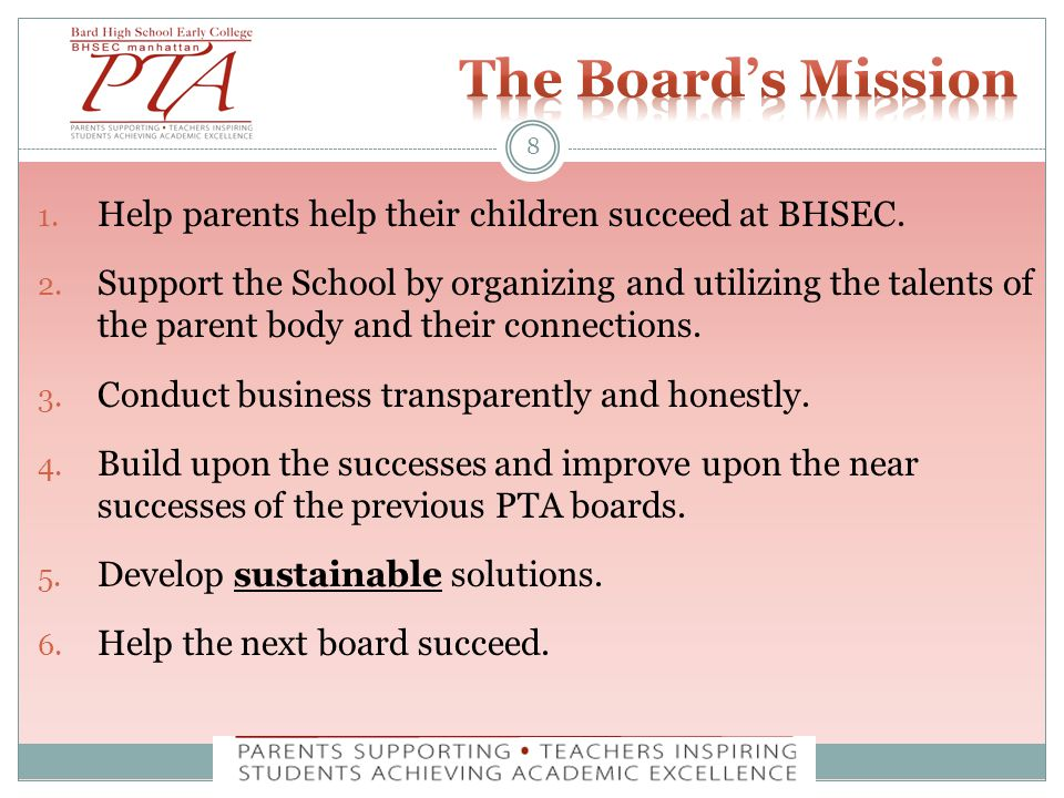1. Help parents help their children succeed at BHSEC.