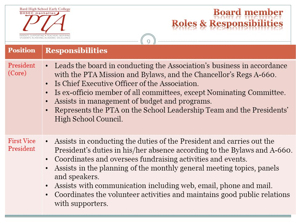 Position Responsibilities President (Core) Leads the board in conducting the Association's business in accordance with the PTA Mission and Bylaws, and the Chancellor's Regs A-660.