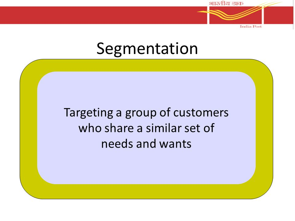 Segmentation Targeting a group of customers who share a similar set of needs and wants
