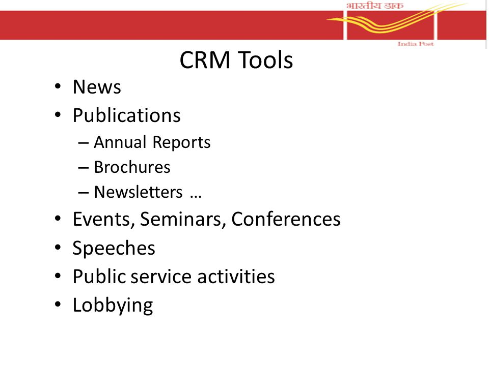 CRM Tools News Publications – Annual Reports – Brochures – Newsletters … Events, Seminars, Conferences Speeches Public service activities Lobbying
