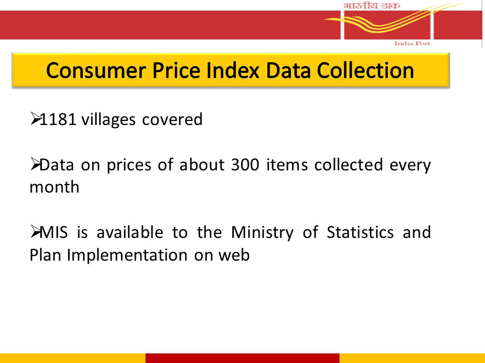  1181 villages covered  Data on prices of about 300 items collected every month  MIS is available to the Ministry of Statistics and Plan Implementa