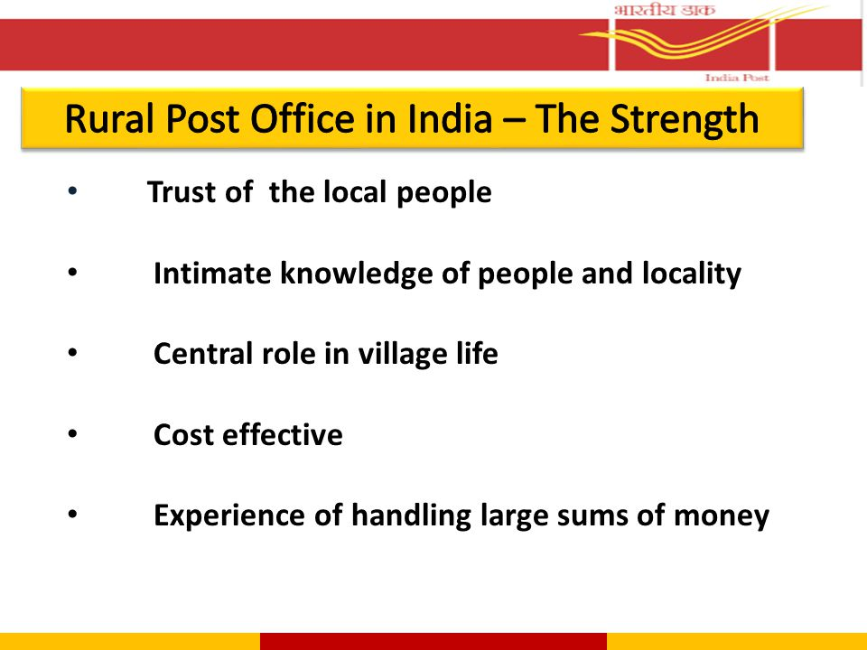 Microcredit  Post Offices facilitate information of Self Help Groups (SHGs)  Credit given from corpus from NABARD  Recovery by Post Offices  No default so far  Fostering thrift habit  Empowering vulnerable groups Loans  Post Office procures loan applications  Loan sanction and recovery by the bank