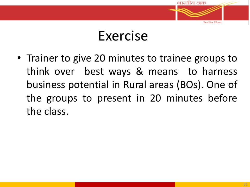 Exercise Trainer to give 20 minutes to trainee groups to think over best ways & means to harness business potential in Rural areas (BOs).