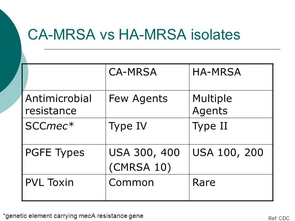 CA-MRSA vs HA-MRSA isolates CA-MRSAHA-MRSA Antimicrobial resistance Few AgentsMultiple Agents SCCmec*Type IVType II PGFE TypesUSA 300, 400 (CMRSA 10)
