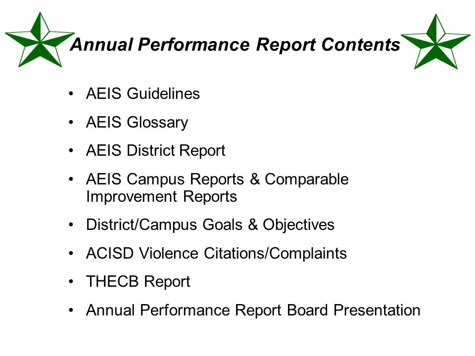 Annual Performance Report Contents AEIS Guidelines AEIS Glossary AEIS District Report AEIS Campus Reports & Comparable Improvement Reports District/Ca