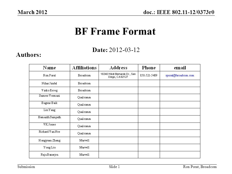 doc.: IEEE /0373r0 Submission March 2012 Ron Porat, Broadcom BF Frame Format Date: Authors: Slide 1