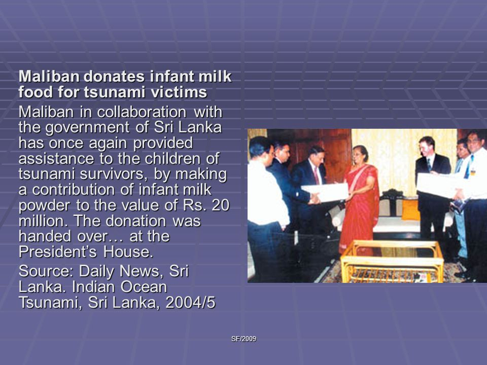 SF/2009 We distributed children s clothes and about 40 mothers showed up with their babies, we…taught them how to use the milk powder we had received in big quantities. Source: Real Medicine Foundation News.