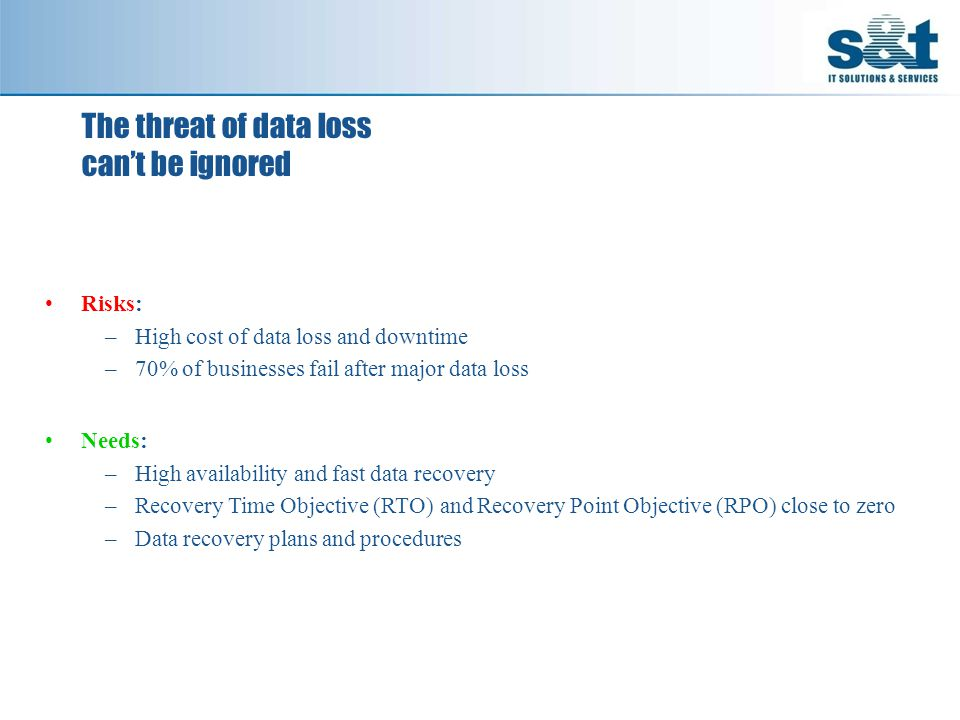 The threat of data loss can't be ignored Risks: –High cost of data loss and downtime –70% of businesses fail after major data loss Needs: –High availability and fast data recovery –Recovery Time Objective (RTO) and Recovery Point Objective (RPO) close to zero –Data recovery plans and procedures