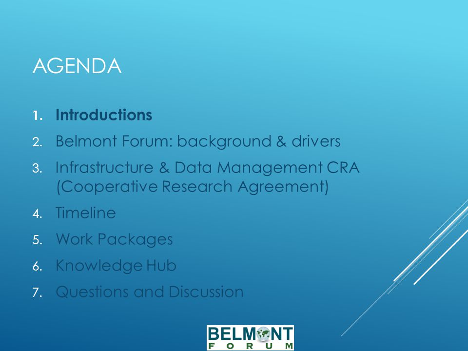 AGENDA 1. Introductions 2. Belmont Forum: background & drivers 3.