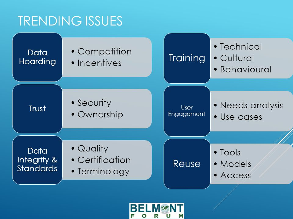 TRENDING ISSUES Competition Incentives Data Hoarding Security Ownership Trust Quality Certification Terminology Data Integrity & Standards Technical Cultural Behavioural Training Needs analysis Use cases User Engagement Tools Models Access Reuse