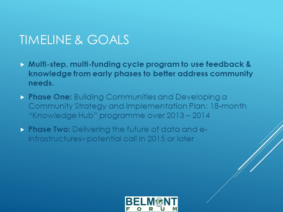 TIMELINE & GOALS  Multi-step, multi-funding cycle program to use feedback & knowledge from early phases to better address community needs.