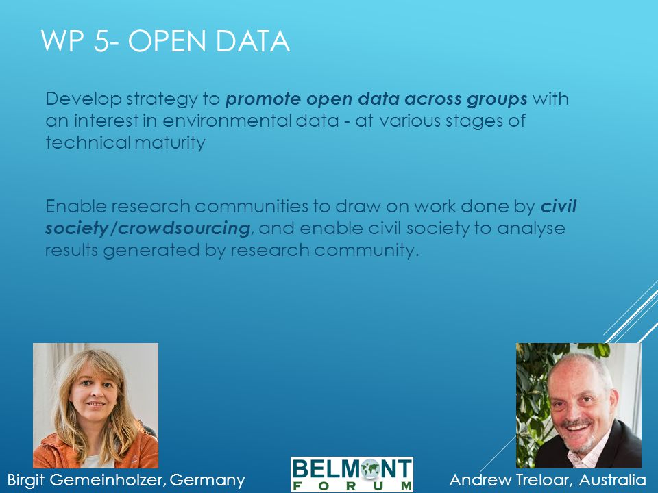 WP 5- OPEN DATA Birgit Gemeinholzer, Germany Andrew Treloar, Australia Develop strategy to promote open data across groups with an interest in environmental data - at various stages of technical maturity Enable research communities to draw on work done by civil society/crowdsourcing, and enable civil society to analyse results generated by research community.
