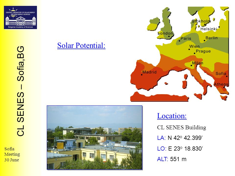 CL SENES – Sofia,BG Sofia Meeting 30 June Solar Potential: Location: CL SENES Building LA: N 42 o 42.399' LO: E 23 o 18.830' ALT: 551 m