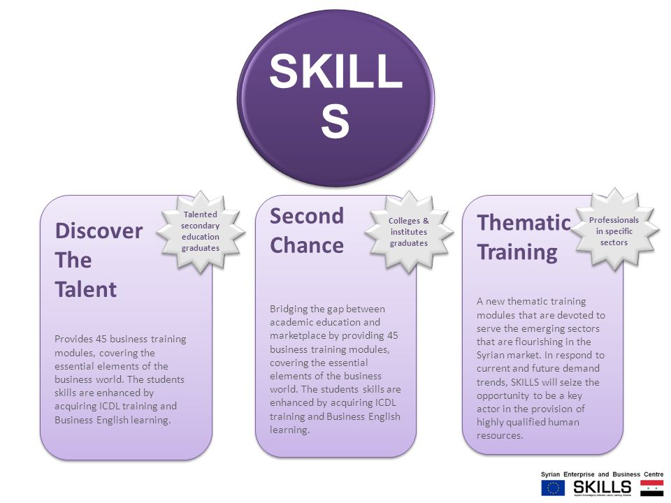 SKILL S Discover The Talent Provides 45 business training modules, covering the essential elements of the business world. The students skills are enha