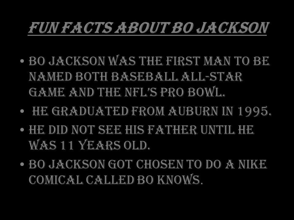 Fun Facts About Bo Jackson Bo Jackson was the first man to be named both baseball All-Star Game and the NFL's Pro Bowl.