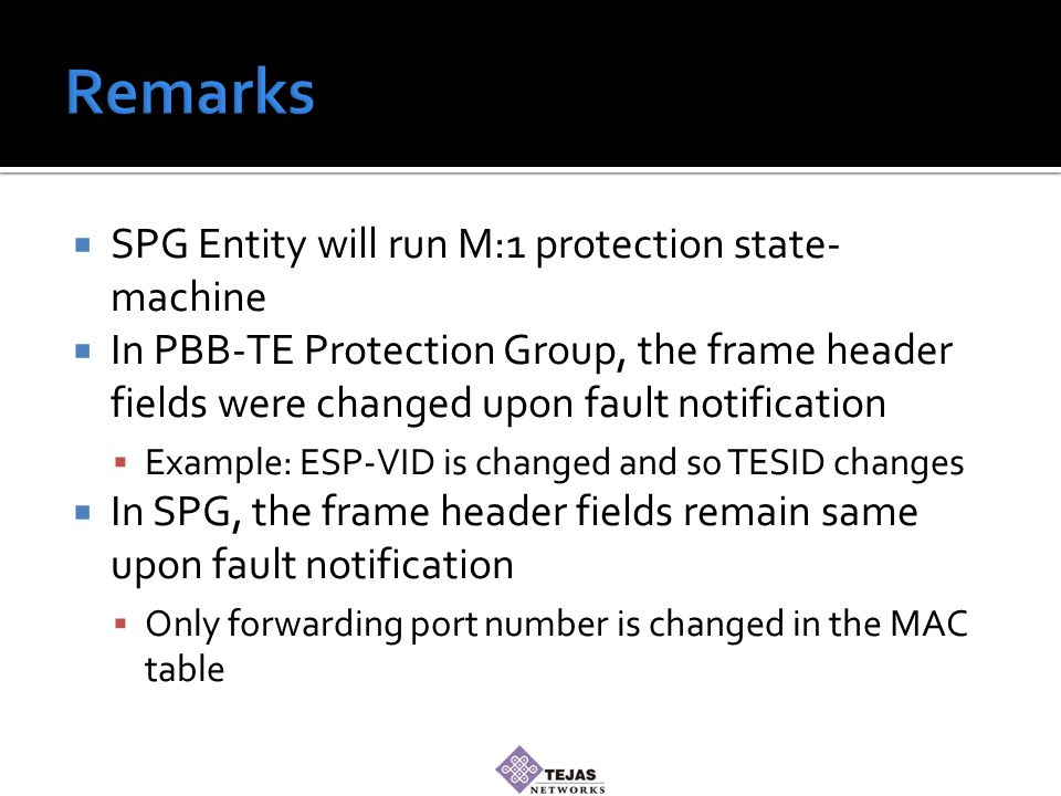  SPG Entity will run M:1 protection state- machine  In PBB-TE Protection Group, the frame header fields were changed upon fault notification  Example: ESP-VID is changed and so TESID changes  In SPG, the frame header fields remain same upon fault notification  Only forwarding port number is changed in the MAC table