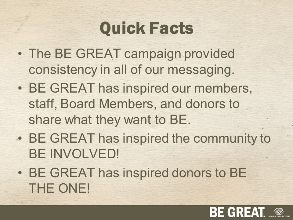 The BE GREAT campaign provided consistency in all of our messaging.