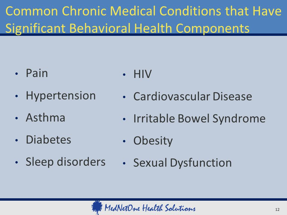 Common Chronic Medical Conditions that Have Significant Behavioral Health Components Pain Hypertension Asthma Diabetes Sleep disorders HIV Cardiovascu