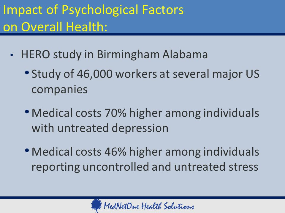 HERO study in Birmingham Alabama Study of 46,000 workers at several major US companies Medical costs 70% higher among individuals with untreated depre