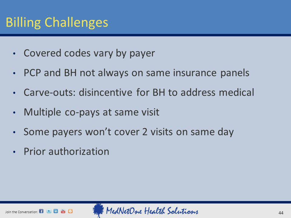 Join the Conversation: Billing Challenges 44 Covered codes vary by payer PCP and BH not always on same insurance panels Carve-outs: disincentive for B
