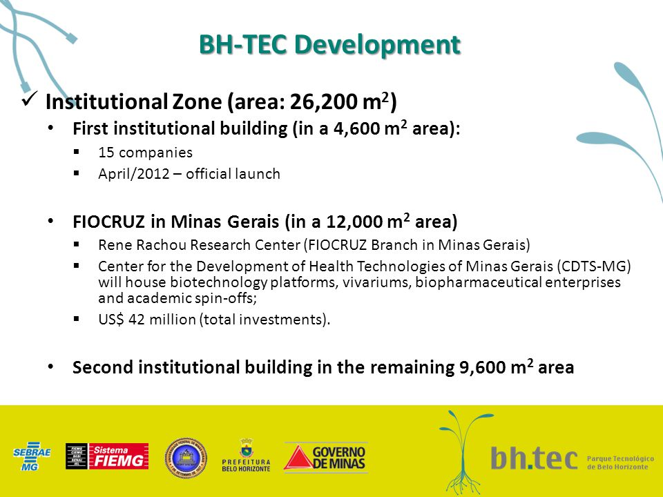 BH-TEC Development Institutional Zone (area: 26,200 m 2 ) First institutional building (in a 4,600 m 2 area):  15 companies  April/2012 – official l