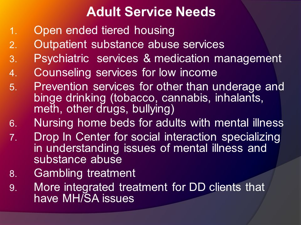 Adult Service Needs 1. Open ended tiered housing 2.