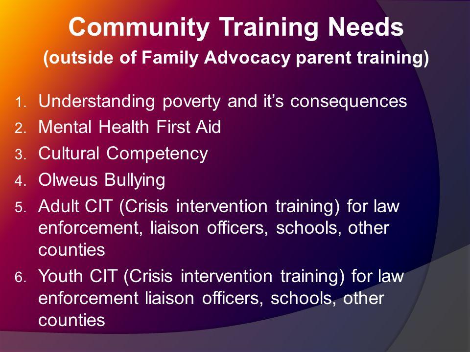 Community Training Needs (outside of Family Advocacy parent training) 1.