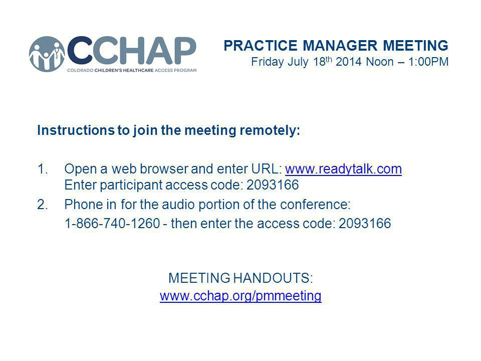 Expanding Our Concept of Health Literacy PRACTICE MANAGER MEETING Friday July 18 th 2014 Noon – 1:00PM Our Concept of Health Literacy PRESENTER Patrece Hairston, PsyD CCHAP Director of Behavioral Health Programs MEETING HANDOUTS: www.cchap.org/pmmeeting