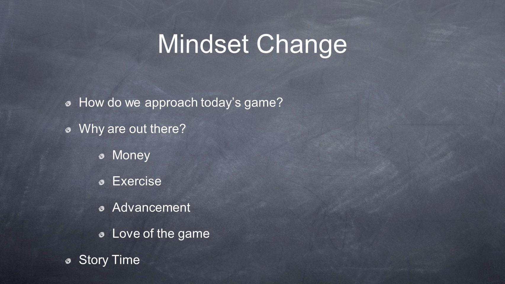 Mindset Change How do we approach today's game. Why are out there.