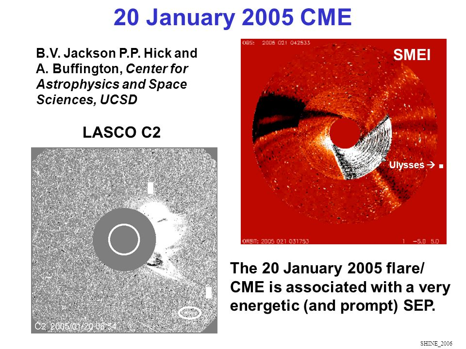 SHINE_2006 The 20 January 2005 flare/ CME is associated with a very energetic (and prompt) SEP.