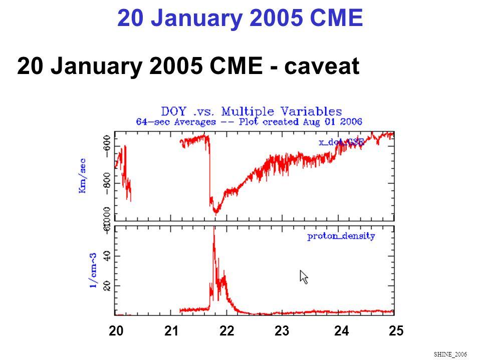 SHINE_2006 20 January 2005 CME - caveat 20 January 2005 CME 20 21 22 23 24 25