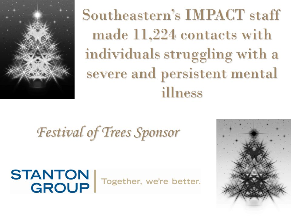 Festival of Trees Sponsor Southeastern's IMPACT staff made 11,224 contacts with individuals struggling with a severe and persistent mental illness