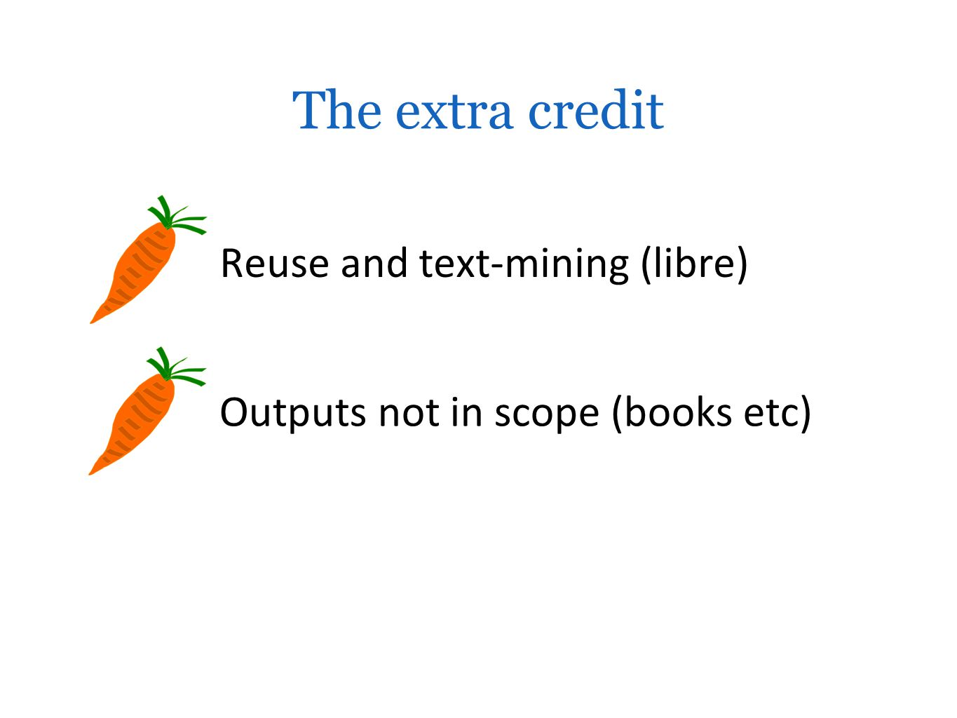 Reuse and text-mining (libre) Outputs not in scope (books etc) The extra credit