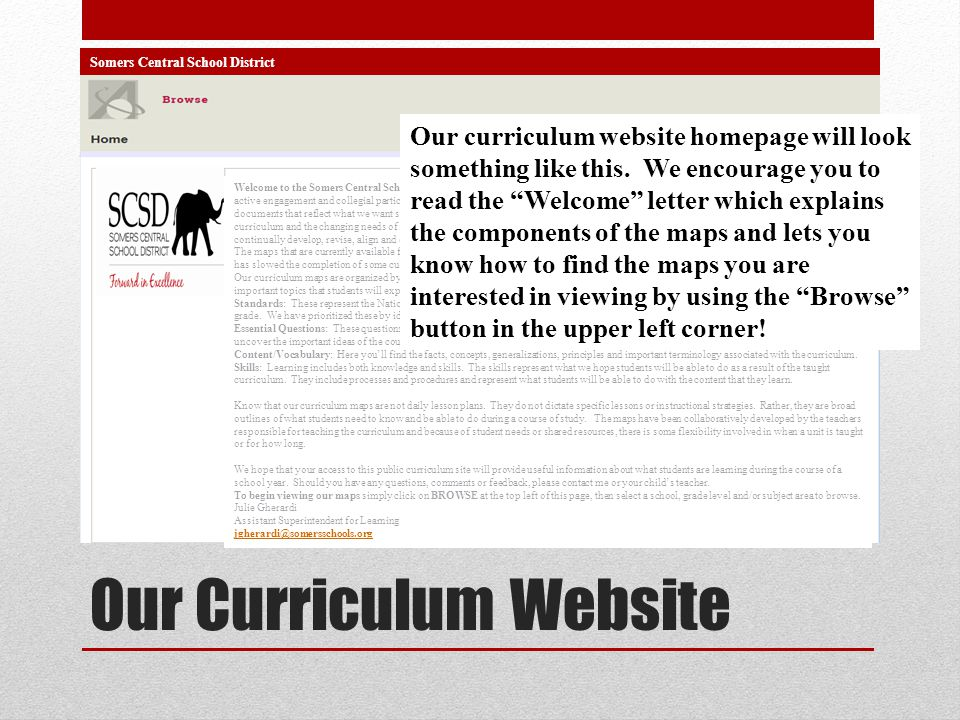 Our Curriculum Website Somers Central School District Welcome to the Somers Central School District curriculum website. Our curriculum maps are the by
